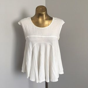 Free people white swing tee lace peekaboo M